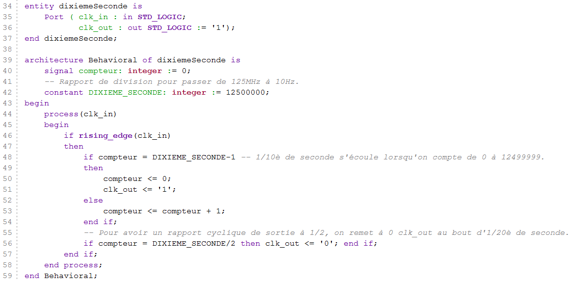 Code source VHDL de dixiemeSeconde