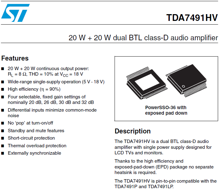 TDA7491HV features